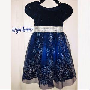 NWT Jona Michelle Girls' Navy & Silver Party Dress